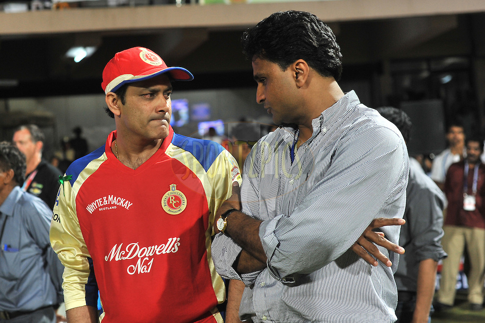 Javagal Srinath and Anil Kumble during match 1 of the NOKIA Champions League T20 ( CLT20 )between the Royal Challengers Bangalore and the Warriors held at the  M.Chinnaswamy Stadium in Bangalore , Karnataka, India on the 23rd September 2011..Photo by Pal Pillai/BCCI/SPORTZPICS