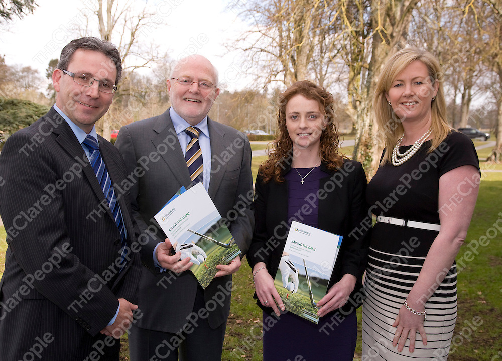 Pictured at a recent Fáilte Ireland Golf Forum were (from left):Colin Donovan, Mount Juliet Golf Club; Dan Flinter, Chairman Golf Forum; Michelle McGreevy, Fáilte Ireland Golf Officer and Marie Collins, Doonbeg Golf Club. Thirty two Golf Clubs collected an award under the new Fáilte Ireland National Standards Framework for Golf Clubs, developed in conjunction with the Golf Quality Assurance Group. These industry standards are the first of their kind for golf courses in Ireland and offer a guarantee of good service to all customers of clubs which hold the accreditation.