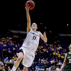 Mar 24, 2013; Baton Rouge, LA, USA; Penn State Lady Lions guard Maggie Lucas (33) shoots against the Cal Poly Mustangs guard Caroline Reeves (22) in the second half during the first round of the 2013 NCAA womens basketball tournament at the Pete Maravich Assembly Center. Penn State defeated Cal Poly 85-55. Mandatory Credit: Derick E. Hingle-USA TODAY Sports