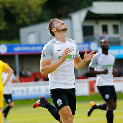 SEPTEMBER 1y6:  Dover Athletic against Chester FC in Conference Premier at Crabble Stadium in Dover, England. Doveer ran out emphatic winners 4 goal to nothing. Dover's defender Giancarlo Gallifuoco celebrates after putting Dover a goal up. (Photo by Matt Bristow/mattbristow.net)