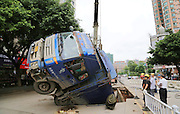 WUZHOU, CHINA - AUGUST 14: (CHINA OUT) <br /> <br /> Road Cave-in<br /> <br /> A truck is trapped in a hole after a cave-in happened at a road on August 14, 2014 in Wuzhou, Guangxi Zhuang Autonomous Region of China. The cave-in occurred on Thursday morning, engulfing a passing truck, with no casualties reported.<br /> ©Exclusivepix