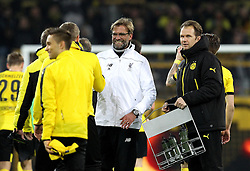 Liverpool Manager Jurgen Klopp shakes hands with the Borussia Dortmund players at full time - Mandatory by-line: Robbie Stephenson/JMP - 07/04/2016 - FOOTBALL - Signal Iduna Park - Dortmund,  - Borussia Dortmund v Liverpool - UEFA Europa League Quarter Finals First Leg