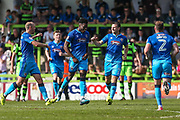 Grimsby Town's JJ Hooper scores a goal 0-3 and celebrates during the EFL Sky Bet League 2 match between Forest Green Rovers and Grimsby Town FC at the New Lawn, Forest Green, United Kingdom on 5 May 2018. Picture by Shane Healey.