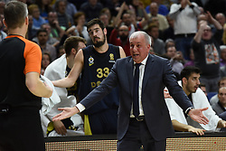 March 2, 2018 - Madrid, Madrid, Spain - Zeljko Obradovic coach of Fenerbahce gestures during the 2017/2018 Turkish Airlines EuroLeague Regular Season Round 24 game between Real Madrid and Fenerbahce Dogus Istanbul at WiZink center in Madrid. (Credit Image: © Jorge Sanz/Pacific Press via ZUMA Wire)