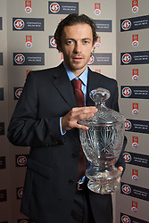 CARDIFF, WALES - Tuesday, October 7, 2008: Wales' FAW Player of the Year Simon Davies with his award at the Brains Beer Wales Football Awards at the Millennium Stadium. (Photo by David Rawcliffe/Propaganda)