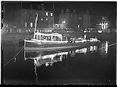 "1958 - Guinness barge ""Sandyford"", with band on board, on the river Liffey"