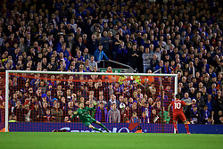 LIVERPOOL, ENGLAND - Wednesday, September 23, 2015: Carlisle United's goalkeeper Mark Gillespie saves the fourth penalty of the shoot-out from Liverpool's Philippe Coutinho Correia to leave the score 2-1 during the Football League Cup 3rd Round match at Anfield. (Pic by David Rawcliffe/Propaganda)