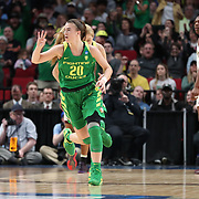 March 31, 2019; Portland, OR, USA;  Oregon Ducks guard Sabrina Ionescu (20) reacts after scoring Mississippi State Bulldogs in the first half of Elite Eight of the NCAA Women's Tournament at Moda Center.<br /> Photo by Jaime Valdez