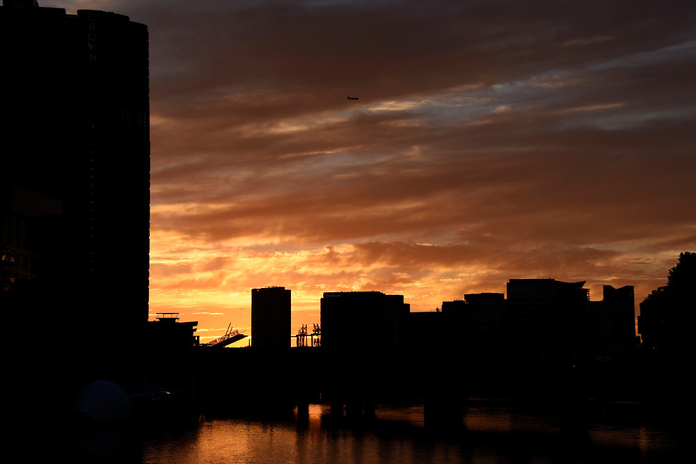 Sunset over the Yarrow River in Melbourne with the Mebourne Convention center in the back ground