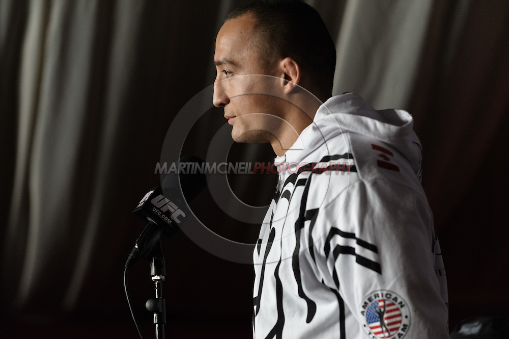 MANCHESTER, ENGLAND, NOVEMBER 12, 2009: Denis Kang addresses the media during the pre-fight press conference for UFC 105 at the MEN Arena in Manchester, England on November 12, 2009.