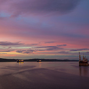 Sunset in Murmansk harbour, Russia