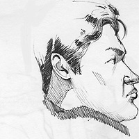 Sketchbook drawing of young man in profile