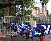 Sakon Yamamoto car being removed from the track during the FIA Formula E Visa London ePrix  at Battersea Park, London, United Kingdom on 28 June 2015. Photo by Matthew Redman.