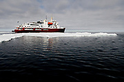 The tourist-vessle M/S Polar Star in the pack ice at 80 degrees north of Spitsbergen, Svalbard.