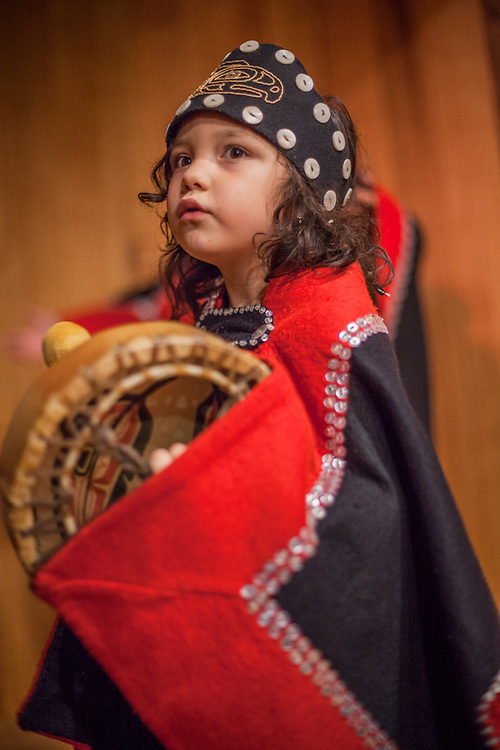 Four year old dancer, drummer and member of the Thunderbird Clan, Thea Duncan from Angoon at the SeaAlaska Heritage Center during the ATIA Convention in Juneau, Alaska  gracegduncan77@gmail.com