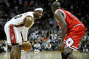 Apr 19, 2010; Cleveland, OH, USA; Cleveland Cavaliers forward LeBron James (23) faces off against Chicago Bulls forward Luol Deng (9) during the second period in game two in the first round of the 2010 NBA playoffs at Quicken Loans Arena. Mandatory Credit: Jason Miller-US PRESSWIRE