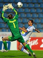 Fotball , 31. mai 2012<br /> Armenia - Hellas<br /> Bild zeigt Roman Berezovski (ARM) und Ionannis Maniatis (GRE) <br /> Norway only