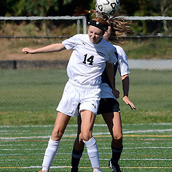 Staff photos by Tom Kelly IV<br /> Strath Haven's (14) heads the ball during the Agnes Irwin School vs Strath Haven girls soccer scrimmage in Nether Providence Township, Thursday August 28, 2014.