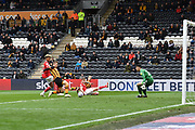 Hull City forward Jarrod Bowen (20) just missing the ball during the EFL Sky Bet Championship match between Hull City and Bristol City at the KCOM Stadium, Kingston upon Hull, England on 5 May 2019.