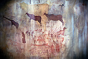 The Kondoa Irangi Rock Paintings near Kolo, Tanzania This rock paintings depicting here a hunting scene are believed to be 1500 years old