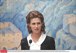 File photo - Second day of the visit of Syrian president Bashar Al Assad and his wife Asma in China. The Syrian presidential couple visited the Sciences and Technology Museum of Beijing. Then the First Lady Asma Al Assad visited the National Women's University of China where she meet and discussed with students and teachers on 23 June 2004. Picture : university. Syria's British-born first lady Asma Assad has begun treatment for breast cancer. The Syrian presidency posted on its Facebook page a photo of President Bashar Assad sitting next to his wife in a hospital room. Photo by Ammar Abd Rabbo/ABACA.