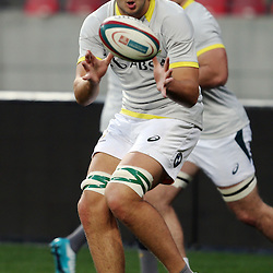 PORT ELIZABETH, SOUTH AFRICA - JUNE 27: Lood de Jager of South Africa during the South African National rugby team captains run and official team photograph at Nelson Mandela Bay Stadium on June 27, 2014 in Port Elizabeth, South Africa. (Photo by Steve Haag/Gallo Images)