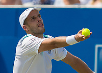 Tennis - 2017 Aegon Championships [Queen's Club Championship] - Day Three, Wednesday<br /> <br /> Men's Singles, Round of 16 - Gilles Muller (LUX) vs Jo-Wilfred Tsonga (Fra)<br /> <br /> Gilles Muller (LUX) serves for the match at Queens Club<br /> <br /> COLORSPORT/DANIEL BEARHAM