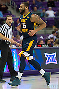FORT WORTH, TX - JANUARY 4: Jaysean Paige #5 of the West Virginia Mountaineers celebrates after a made three-pointer against the TCU Horned Frogs on January 4, 2016 at Ed and Ray Schollmaier Arena in Fort Worth, Texas.  (Photo by Cooper Neill/Getty Images) *** Local Caption *** Jaysean Paige