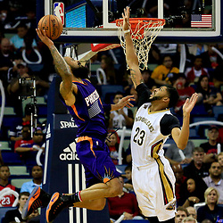 Nov 4, 2016; New Orleans, LA, USA; New Orleans Pelicans forward Anthony Davis (23) blocks a shot by Phoenix Suns center Tyson Chandler (4) during the first quarter of a game at the Smoothie King Center. Mandatory Credit: Derick E. Hingle-USA TODAY Sports