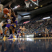 HARTFORD, CONNECTICUT- JANUARY 4: Katie Lou Samuelson #33 of the Connecticut Huskies and Khadidja Toure #2 of the East Carolina Lady Pirates challenge for a loose ball during the UConn Huskies Vs East Carolina Pirates, NCAA Women's Basketball game on January 4th, 2017 at the XL Center, Hartford, Connecticut. (Photo by Tim Clayton/Corbis via Getty Images)
