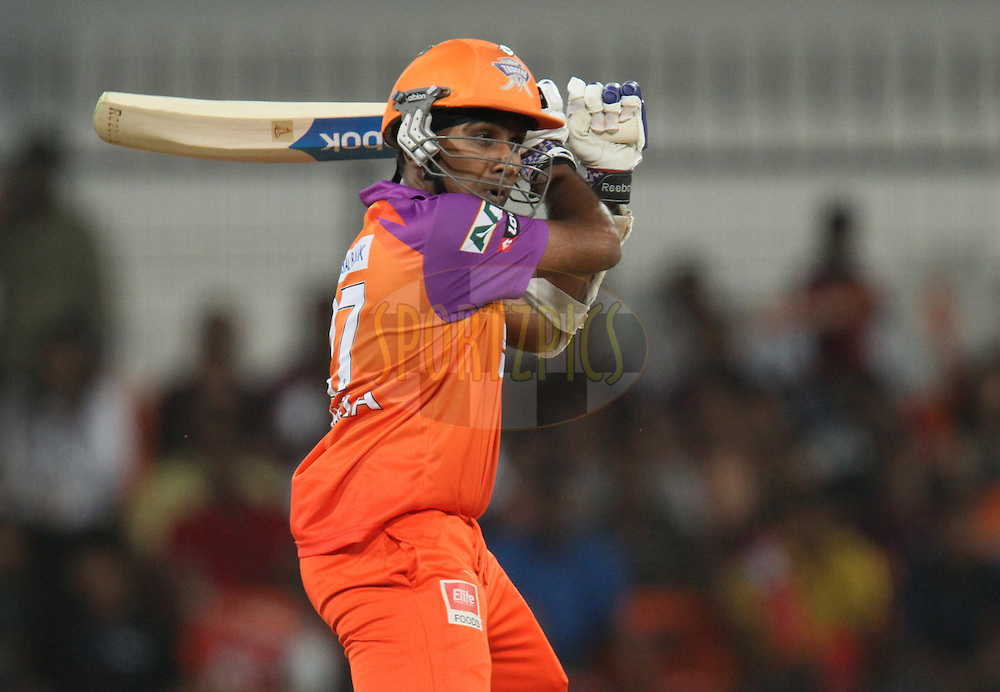 Mahela Jayawardene of Kochi Tuskers Kerala plays a shot  during match 57 of the Indian Premier League ( IPL ) Season 4 between the Kochi Tuskers Kerala and the Kings XI Punjab held at the Holkar Stadium in Indore, Madhya Pradesh, India on the 13th May  2011...Photo by Parth Sanyal/BCCI/SPORTZPICS