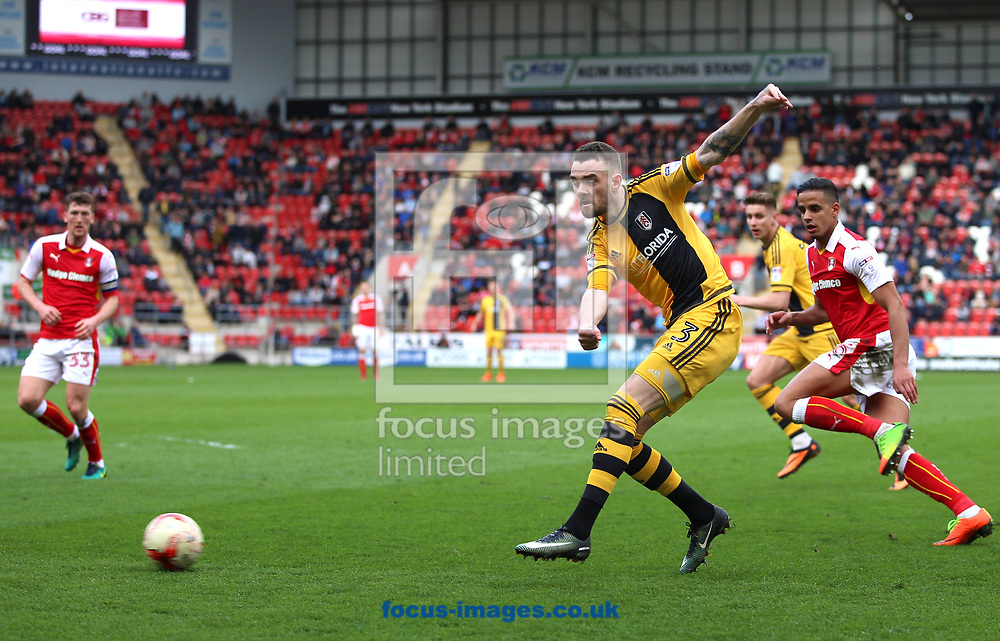 Scott Malone of Fulham shoots during the Sky Bet Championship match at the New York Stadium, Rotherham<br /> Picture by James Wilson/Focus Images Ltd 07709 548263<br /> 01/04/2017