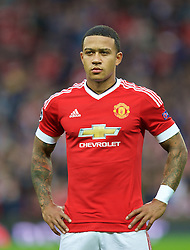 MANCHESTER, ENGLAND - Tuesday, August 18, 2015: Manchester United's Memphis Depay before the UEFA Champions League Play-Off Round 1st Leg match against Club Brugge at Old Trafford. (Pic by David Rawcliffe/Propaganda)
