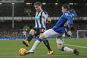 Daryl Janmaat (Newcastle United) and Bryan Oviedo (Everton) inside the penalty box during the Barclays Premier League match between Everton and Newcastle United at Goodison Park, Liverpool, England on 3 February 2016. Photo by Mark P Doherty.