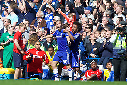 LONDON, ENGLAND - Sunday, May 3, 2015: Chelsea's Eden Hazard and Willian Borges da Silva celebrate winning the Premier League title after a 1-0 victory over Crystal Palace at Stamford Bridge. (Pic by David Rawcliffe/Propaganda)