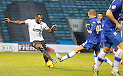Bury FC Defender Nathan Cameron holds off Gillingham FC midfielder Josh Wright during the Sky Bet League 1 match between Gillingham and Bury at the MEMS Priestfield Stadium, Gillingham, England on 14 November 2015. Photo by Andy Walter.