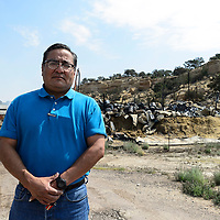 Dr. Donald Benn, director of the Navajo Nation EPA, came out to the scene to take a look at what his crews had done to help fire teams on Aug. 02, 2018.
