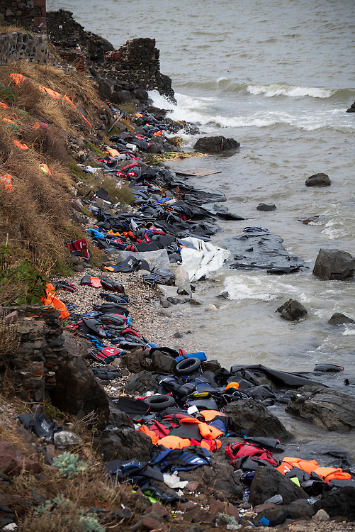 Scores of life jackets, as well as the remains of inflatable boats, lie abandoned on a beach in Lesbos, Greece, after refugees and migrants arrived from Turkey on their way to the heart of Europe.