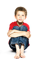 little caucasian boy portrait smiling isolated studio on white background