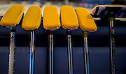 "Glasgow. SCOTLAND.  A set of  Scotlands,  ""Brushes"" used for teh ""sweeping"" leaning against a board waiting for the start of the Scotland vs Italy, ""Round Robin"" Game. Le Gruyère European Curling Championships. 2016 Venue, Braehead  Scotland<br /> Wednesday  23/11/2016<br /> <br /> [Mandatory Credit; Peter Spurrier/Intersport-images]"