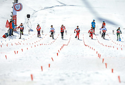 17.03.2017, Ramsau am Dachstein, AUT, Special Olympics 2017, Wintergames, Schneeschuhlauf, Divisioning 100 m, im Bild acht Athletinnen // eight athletes during the Snowshoeing Divisioning 100 m at the Special Olympics World Winter Games Austria 2017 in Ramsau am Dachstein, Austria on 2017/03/17. EXPA Pictures © 2017, PhotoCredit: EXPA / Martin Huber