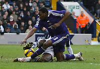 Photo: Steve Bond/Richard Lane Photography. West Bromwich Albion v Newcastle United. Barclays Premiership. 07/02/2009. Leon Barnett (back) tackles Shola Ameobi in the penalty area