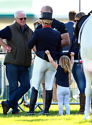 Zara Tindall riding High Kingdom during her dressage stage at the Land Rover Burghley Horse Trials on Day Two of the 3-day event at Burghley House in Stamford, Lincolnshire on September 1, 2017. Zara's husband Mike Tindall looked on with their daughter Mia.<br />