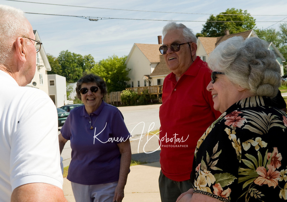 Tilton Northfield Class of 1950 reunion tour of the Union-Sanborn Elementary School Saturday, August 14, 2010.  Karen Bobotas for the Concord Monitor