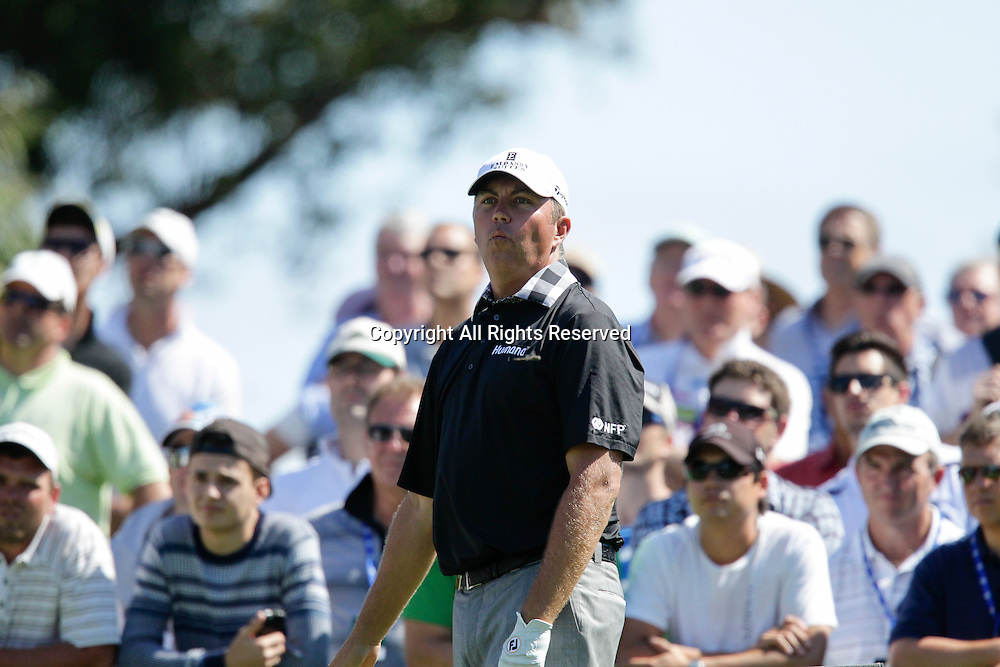 18.10.2013 Perth, Australia. Bo Van Pelt (USA) reacts to his shot from the 12th tee during day 2 of the ISPS Handa Perth International Golf Championship from the Lake Karrinyup Country Club.