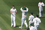 Leicestershire bowler Wayne White celebrates after taking the wicket of Ben Brown during the Specsavers County Champ Div 2 match between Sussex County Cricket Club and Leicestershire County Cricket Club at the 1st Central County Ground, Hove, United Kingdom on 1 May 2016. Photo by Bennett Dean.