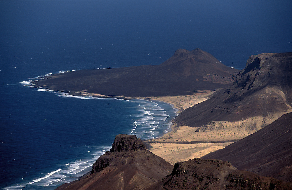 Praia Grande (Big Beach) and an ancient volcano in the northeast coast can be seen from the highest point of Sao Vicente island, the Monte Verde (Green Mount).