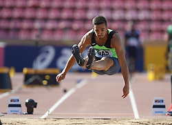July 10, 2018 - Tampere, Suomi Finland - 180710 Friidrott, Junior-VM, Dag 1: Manuel Dias POR competes in men's Decathlon Long jump during the IAAF World U20 Championships day 1 at the Ratina stadion 10. July 2018 in Tampere, Finland. (Newspix24/Kalle Parkkinen) (Credit Image: © Kalle Parkkinen/Bildbyran via ZUMA Press)