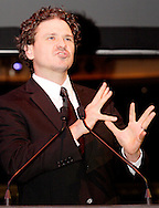 Dave Eggers speaks during the 2011 Dayton Literary Peace Prize dinner and awards presentation at the Schuster Center in downtown Dayton, Sunday, November 13, 2011..