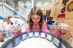 Cabinet Secretary for Culture, Tourism and External Affairs, Fiona Hyslop visits one of the highlights of the annual Edinburgh International Science Festival, Play On at the National Museum of Scotland. Play On is a family-friendly, interactive exhibition which is divided into four zones (Game Theory, Make Some Noise, Toy Box and Picture This) and explores how technology influences our leisure time.<br />  <br /> Ms Hyslop met with the Science Festival&rsquo;s Directors, Simon Gage and Amanda Tyndall, as well as the artists and designers behind the Play On.<br /> <br /> Pictured: Eight year old Chloe Illingworth with one of the exhibits at Play On